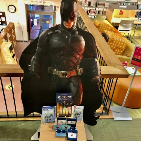 This life-size Batman cutout is one of the prizes for the Teen Winter Reading Challenge at WPL.