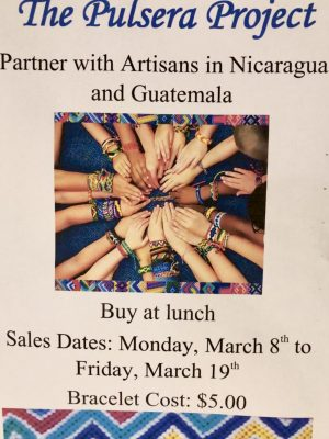 Bracelet's are sold for $5 each at all lunches